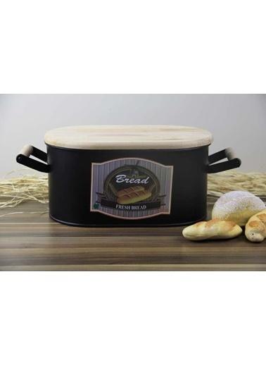 Ancel Metal Kesme Tahtalı Ekmek Kutusu Siyah 43*18*20 Cm Renkli